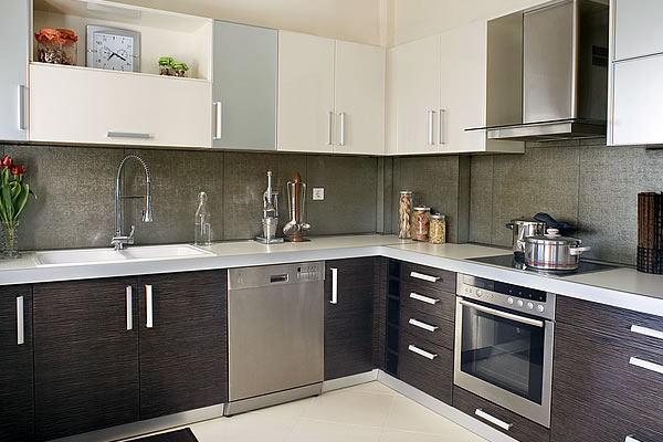 Horizontal Walnut and Stainless Steel Kitchen