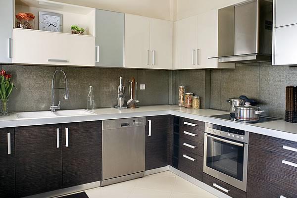 Horizontal Walnut and Stainless Steel Kitchen