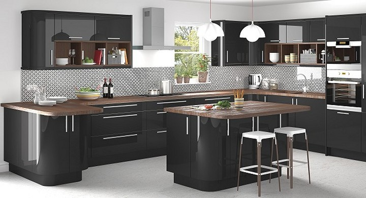 Contemporary Ivory Kitchen Lucido Black